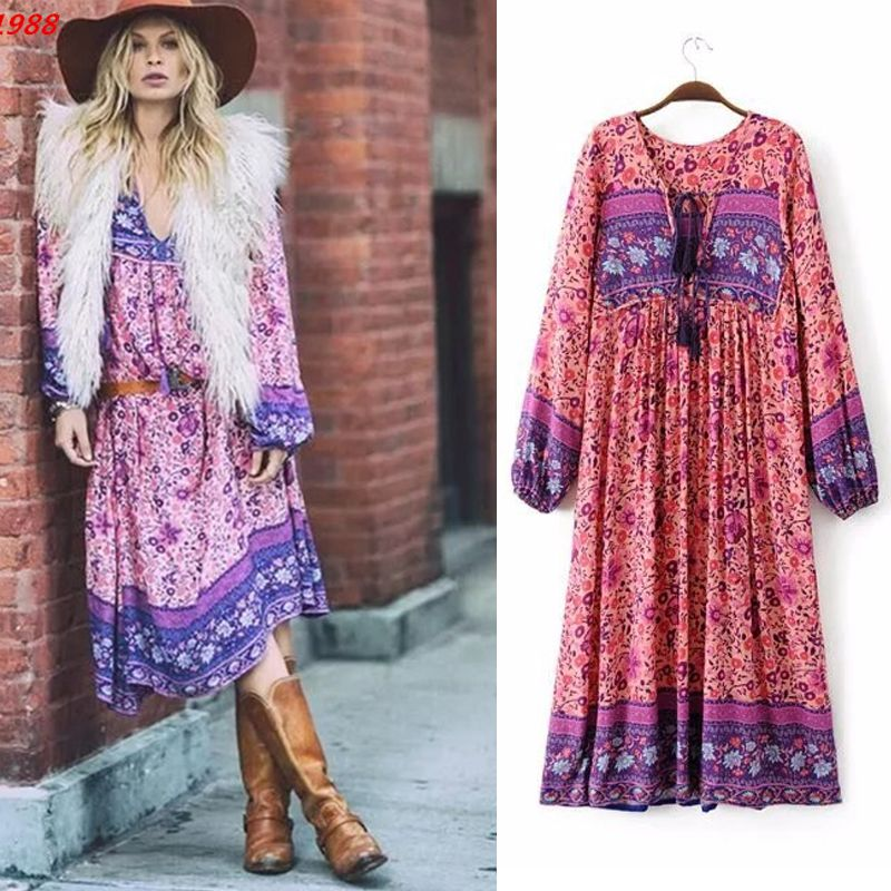2018 Autumn Bohemia Femme Dresses Chic Floral Printint <font><b>Beach</b></font> Maxi Dress Sexy V Neck Tassel Womne Boho Print Long Dress With Pink