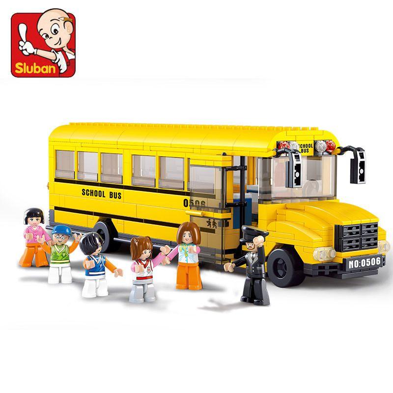 SLUBAN 0506 gros Bus scolaires blocs de construction apprentissage et éducation briques à monter soi-même éclairer blocs jouets pour enfants binquedos