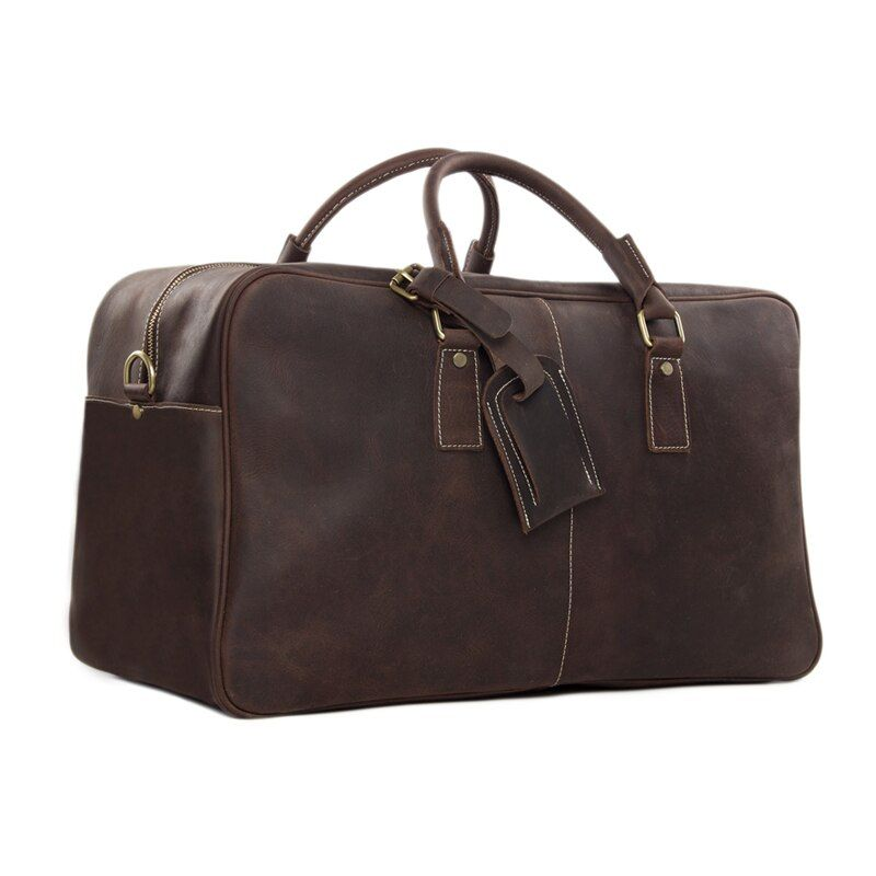 ROCKCOW 20'' Super Large Leather Travel Bag Leather Duffle Bag Laptop Weekender Bag Overnight Bag 2014 New Arrival 7156