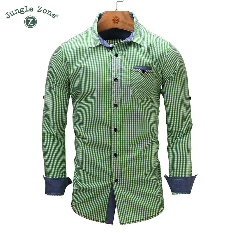 JUNGLE ZONE european size New Arrival Men's shirt Long Sleeve Plaid Shirts Mens Dress Shirt Brand Casual Shirts 106