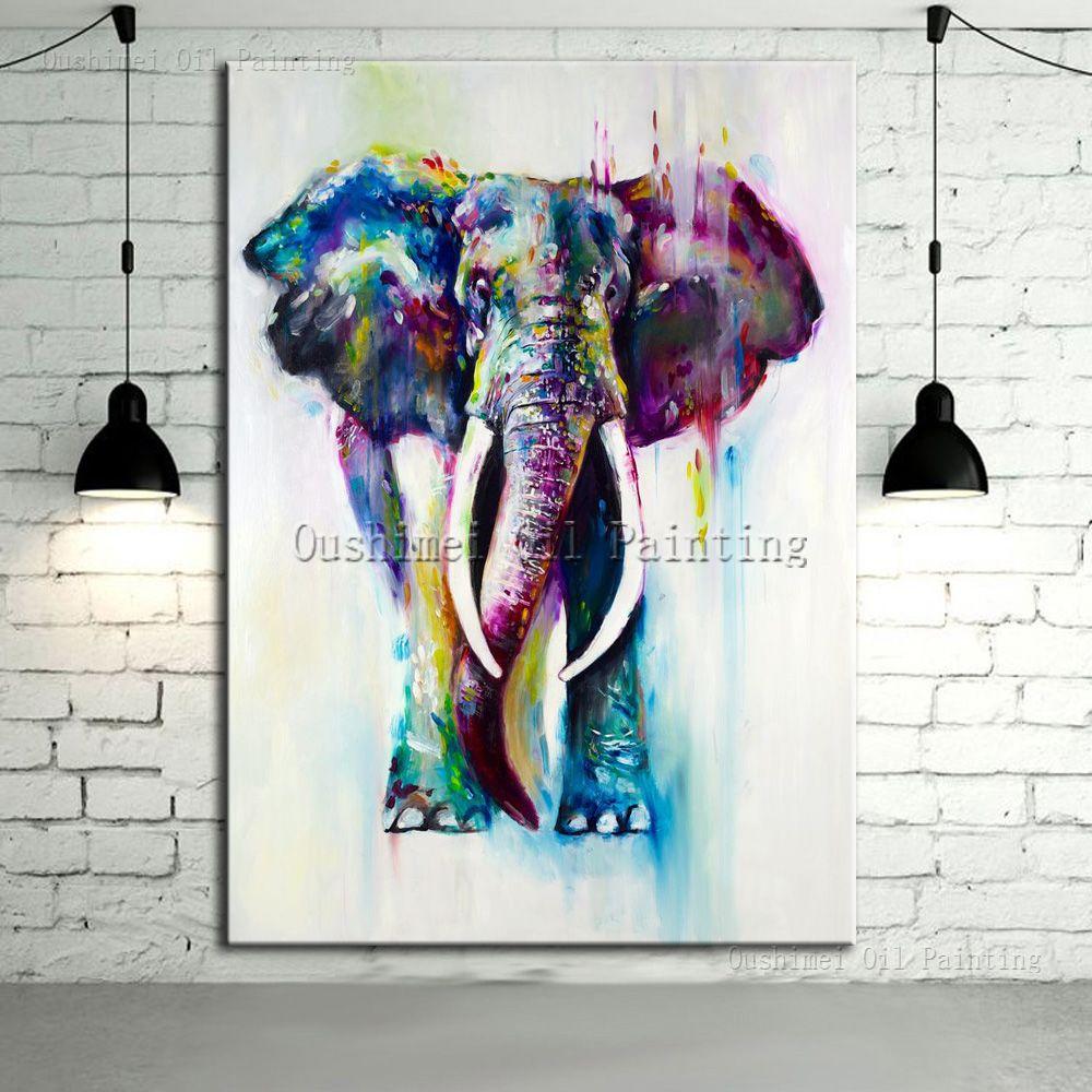 Ручная роспись Цвет Животные маслом повесить Картины современный Рисунок слона для Домашний Декор Бег воды холст олень живопись