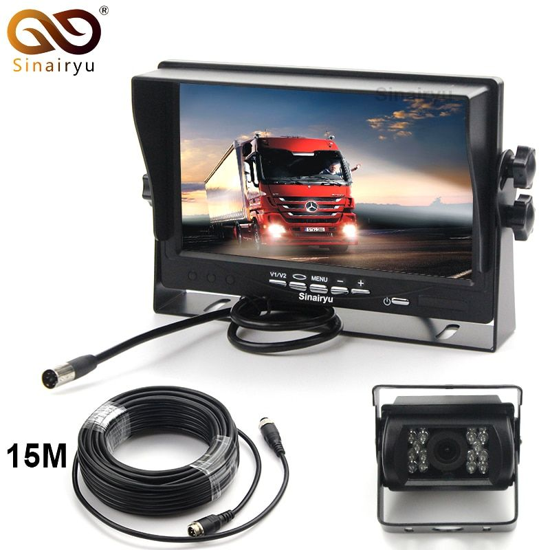 Sinairyu 15M Video Cable DC12~24V Car Truck Bus Parts 7 Inch Auto Parking Monitor With Bracket Aviation joint + Rear View Camera