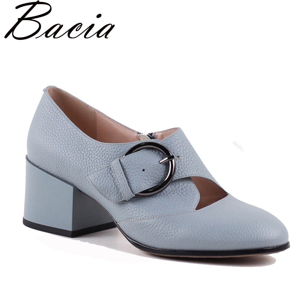 Bacia New Buckle Strap Heels Blue Pumps Front Hollow Butterfly Casual Footwear Genuine Leather Comfortable Mother Shoes VXA016