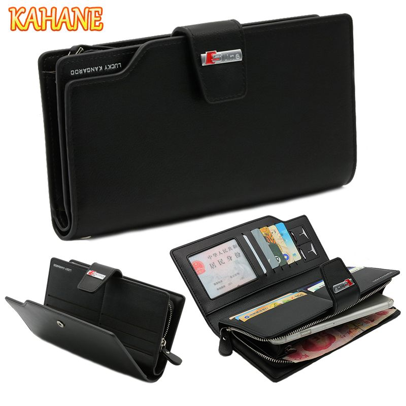 KAHANE Genuine Leather Man Wallet Men Clutch Bag Car Driver License Bag Credit Card Bag For Audi A3 A4 A5 A6 B5 B6 S3 S4 S5 S6
