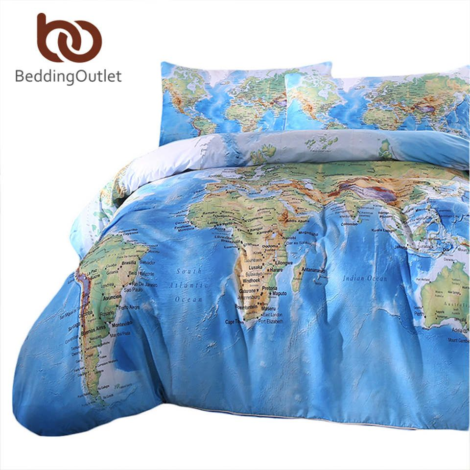 BeddingOutlet 3 Pieces World Map Bedding Set Vivid Printed Blue Quilt Cover Set Super Soft Duvet Cover with Pillow Case For Gift
