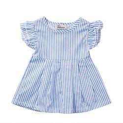 2017 Nouveau Mignon Bébé Enfants Filles Bleu Rayé Princesse Robe Tops D'été Ras Du Cou Costume 0-24 M