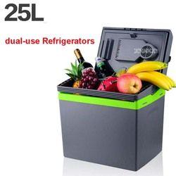 25L Car Home Portable Thermoelectric Fridge 12V/ 220V Cooler Box Warmer Dual Purpose High Capacity Travel Refrigerator 48-55W
