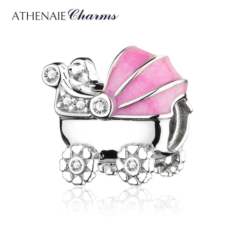 Athenaie 925 серебро с четкими CZ розовой эмалью детская коляска из бисера Талисманы