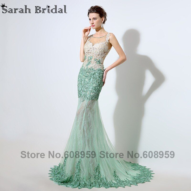 Mint Dubai Kaftan Mermaid Evening Dresses 2017 Sexy Illusion Sheer Crystal Beaded Lace Appliques Prom Dress Real Sample LSX003