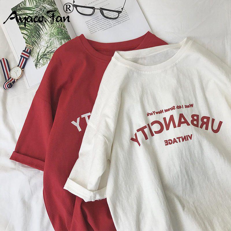 Harajuku Women T-shirts New 2019 Summer Funny Letter Print Hip Hop Loose T-shirt Girls Student Streetwear Casual Lady Tops Tees