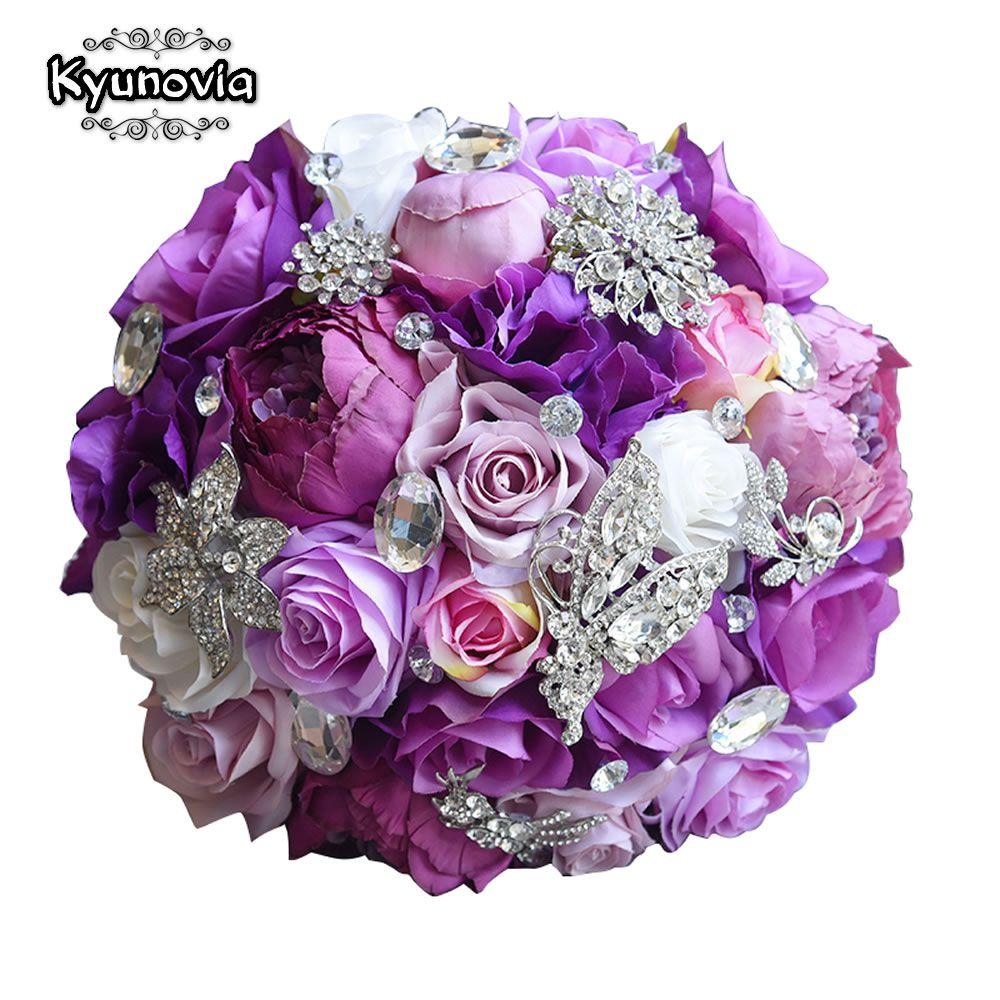 Kyunovia Soie De Mariage Fleur Artificielle Rose Bouquet de Demoiselle D'honneur Bouquets Roses 3 PCs ENSEMBLE Pourpre Accent Broche Bouquet De Mariée FE83