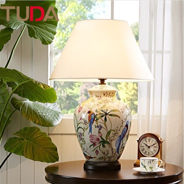50*70cm Flowers and Birds Ceramic Table Lamp Hand-painted Ceramic Table Lamp Crack Glaze Living Room Table Lamp
