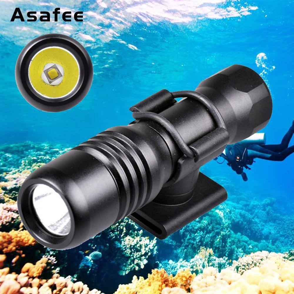 Asafee masque de plongée sous-marine torche Mini lampe de poche sous-marine 200 M CREE XML L2 LED phare de plongée avec support