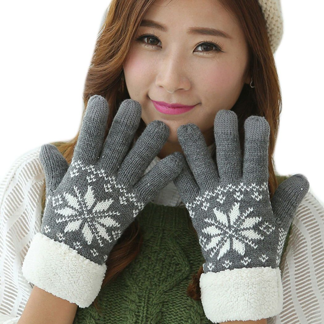 Fashion Women Gloves Warm Winter Snowflake Finger Mittens Thick Gloves Wool Knitted Fleece Screen Gloves For Mobile Phone F15