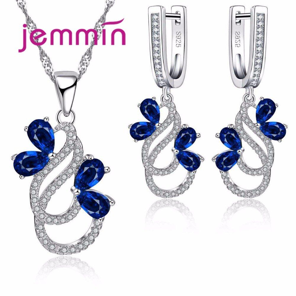 Jemmin Luxury 925 Sterling Silver Necklace Earrings Set For Women Female Party Bule Austrian Crystal Jewelry High Quality