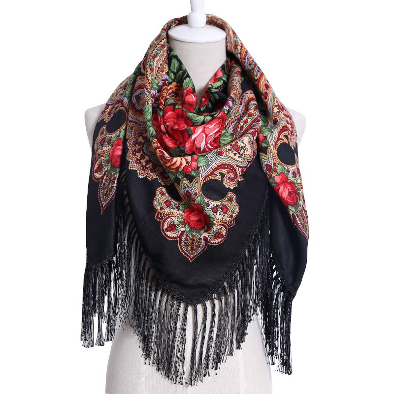 2017 New Cotton Printing Long Tassel Russian Retro Style Woman Wedding Scarf Winter Oversize Square Blankets Bandana Warm Shawl