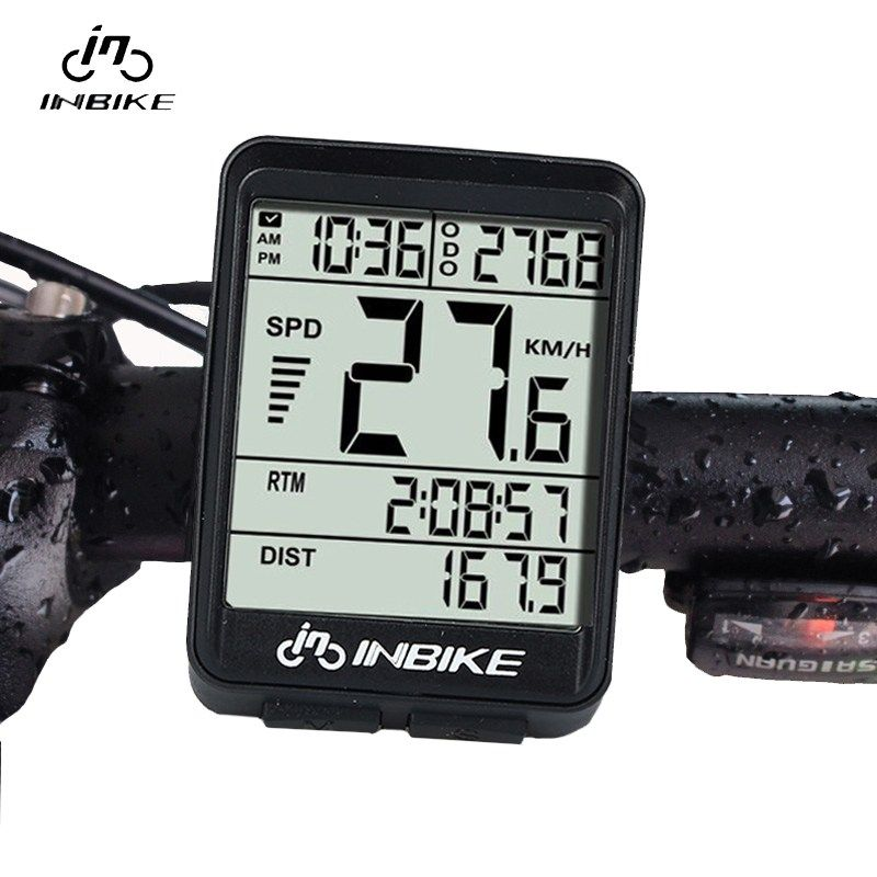 INBIKE IN321 Waterproof Wireless LCD Odometer Bicycle Computer Bicycle <font><b>Speedometer</b></font> Green Backlight Bicycle Accessories