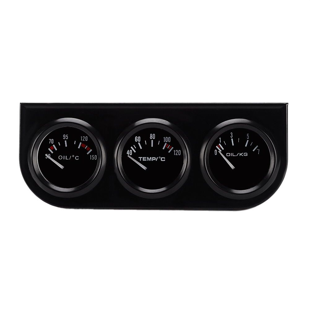DC12V Oil Temp Gauge Water Temp Gauge Temperature Oil Pressure Gauge 52mm Triple kit for cars/ tractors / marine engines