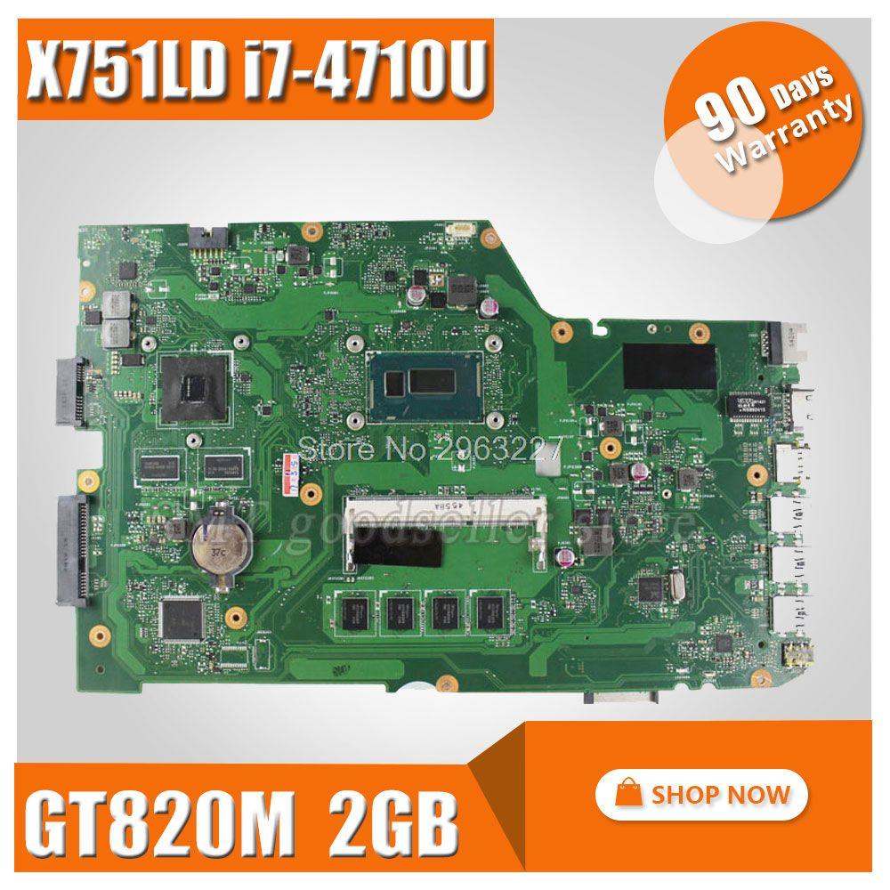 X751LD motherboard REV:2.0 i7-4710 cpu 4GB RAM For ASUS X751LN X751LJ K751L X751LD laptop motherboard X751LD Mainboard 100% Ok