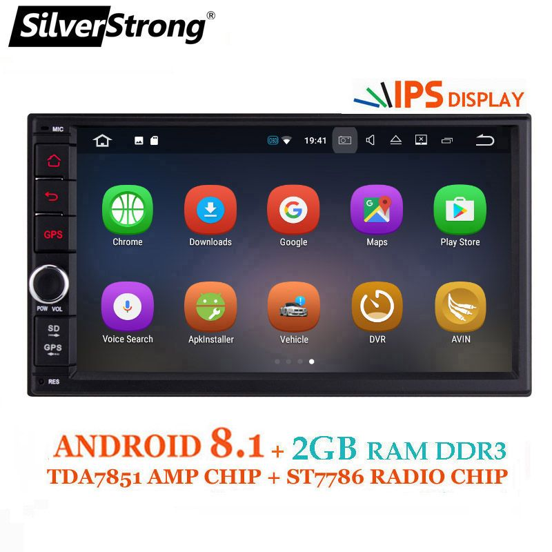 SilverStrong IPS Android8.0 Universal 2din Car DVD OctaCore 4G 32G DSP Double DIN Car GPS Radio TDA7851 Autoradio TPMS 706X3-X5