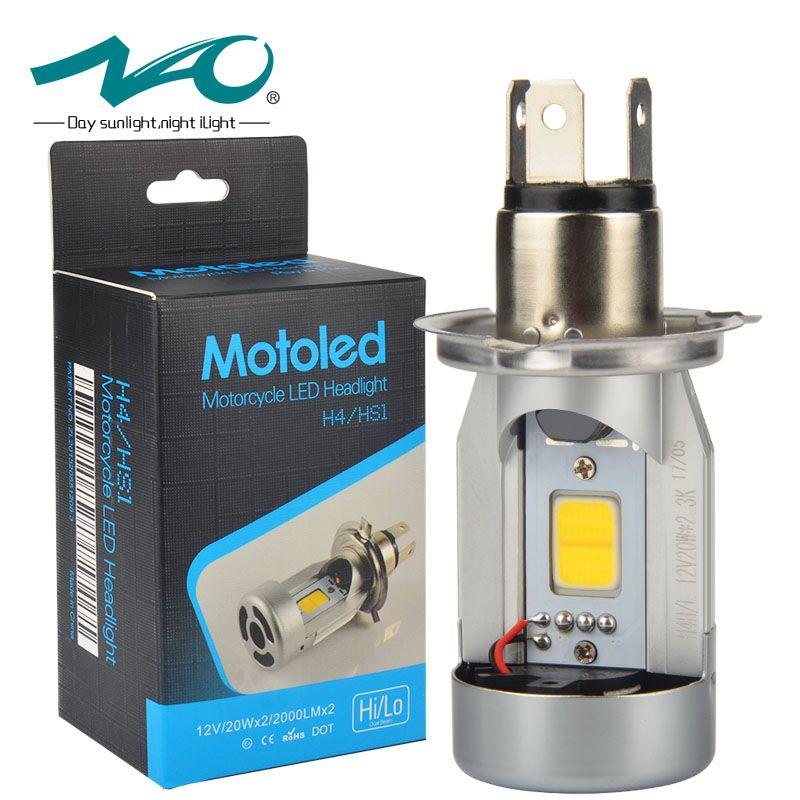 NAO h4 led motorcycle Headlight hs1 led motorbike bulbs h4 led Moto light High Low 20W COB 12V <font><b>6500K</b></font> 2500K Motobike Head Lamp M4