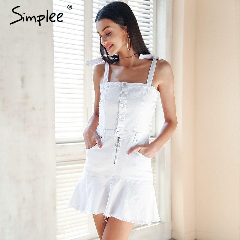 Simplee Strap zipper denim dress women Ruffle button white dress jeans female Streetwear elastic short summer dress 2018