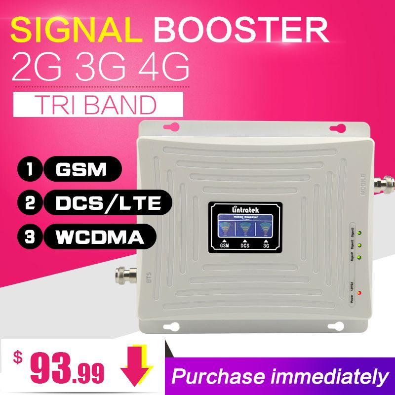 2G 3G 4G GSM 900 WCDMA 2100 LTE 1800 Tri-Bande Mobile téléphone Signal Booster 65dB Gain Téléphone portable Cellulaire Répéteur 3G 4G Amplificateur