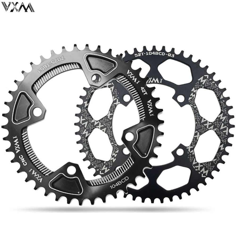 VXM roue à chaîne de vélo 104BCD forme ronde étroite large 30 T/32 T/34 T/36 T/38 T/40 T/42 T/46 T/48 T/50 T/52 T pièces de vélo de pédalier vtt