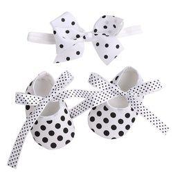 2016 nuevos puntos bebé Niñas Zapatos Bandas para la cabeza Sets, bailarina botines, moda recién nacido Zapatos, imperial princesa primer caminante