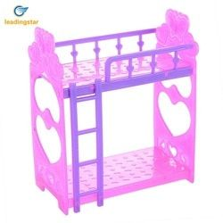 Leadingstar Plastik Double Tempat Tidur untuk Kelly Doll Furniture Kamar Tidur Aksesoris Ungu Pink atau Merah Muda Kuning Warna Acak