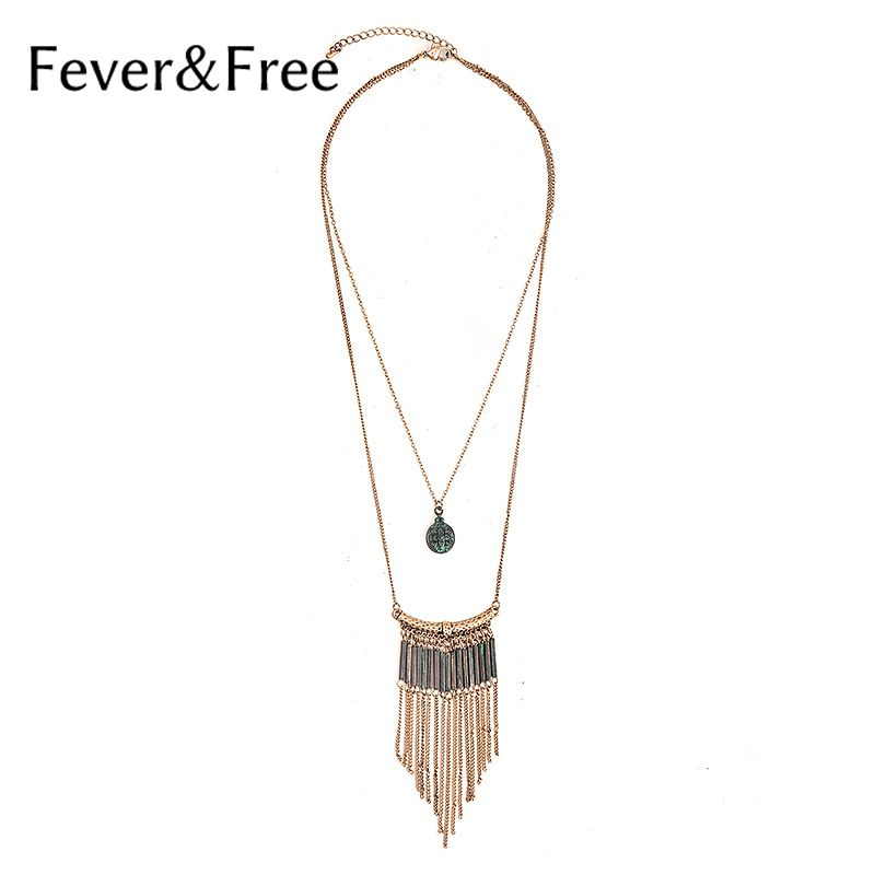 Fever&Free Bohemia Style Tassel Necklace For Woman Double Chain Handmade Necklace Patina Pendant Fashion Jewelry Cheap Wholesale