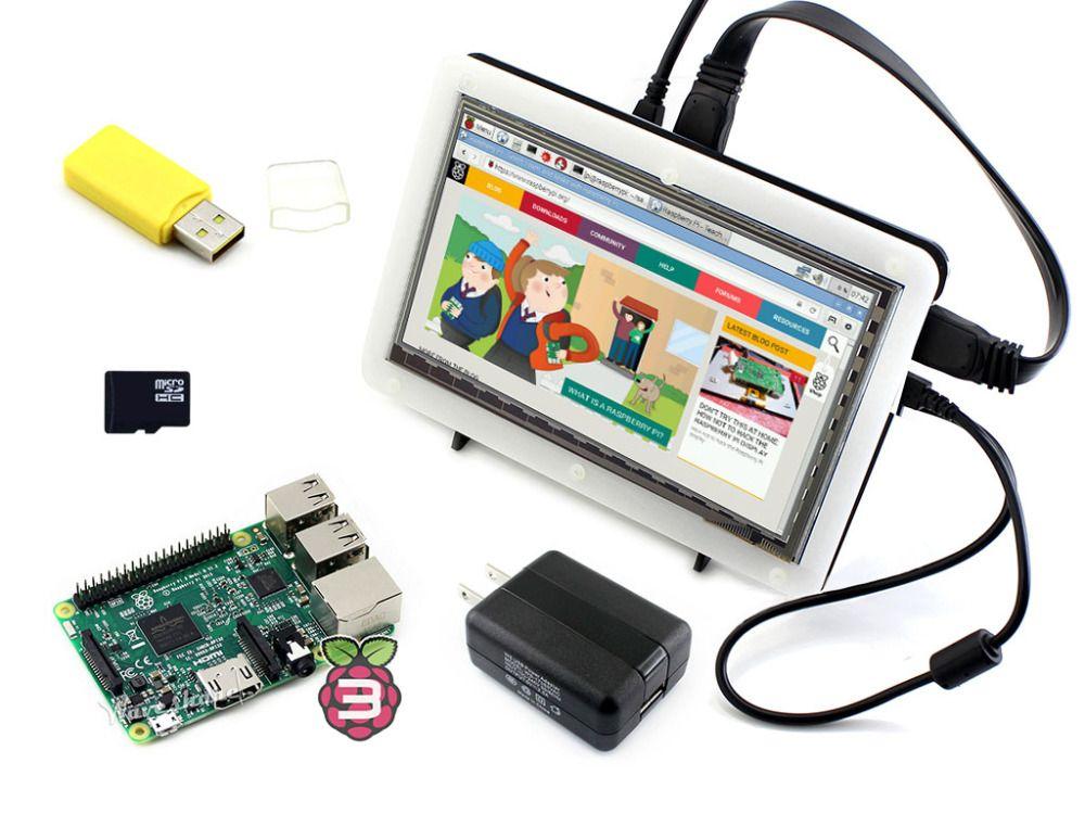 Raspberry Pi 3 Modèle B Paquet F avec Raspberry Pi 7 pouces HDMI 1024*600 IPS LCD Bicolor cas 16 GB SD Carte et NOUS/EU Adaptateur