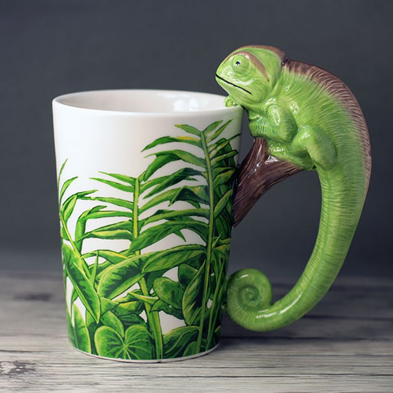 300 ml hand-gemalt 3D tier becher cartoon eidechse keramik kaffee tasse Geschenk Tasse