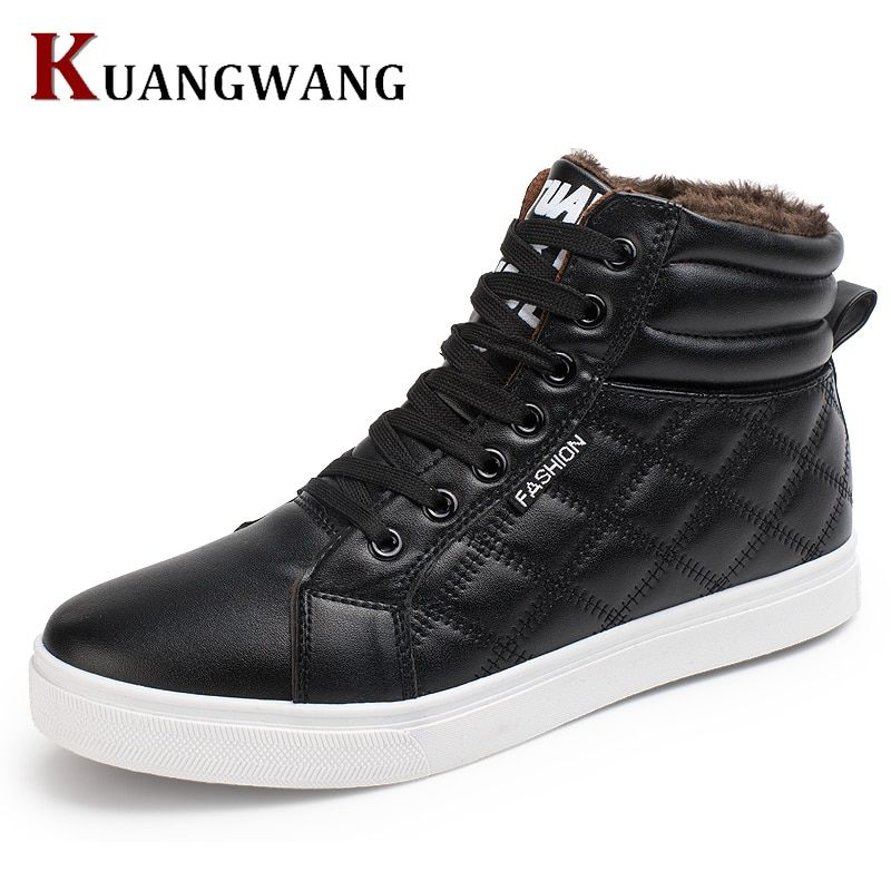 2017 New Hot Men Shoes Fashion Warm Fur Winter Men Leather Boots Waterproof Snow Boots Footwear High Top Canvas Casual Shoes Men