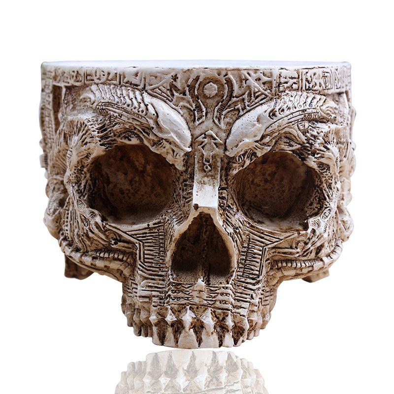 P-Flame White Antique Sculpture Human Skull Planter Garden <font><b>Storage</b></font> Pots Container Macetas Decoration Flower Pot For Home Decor
