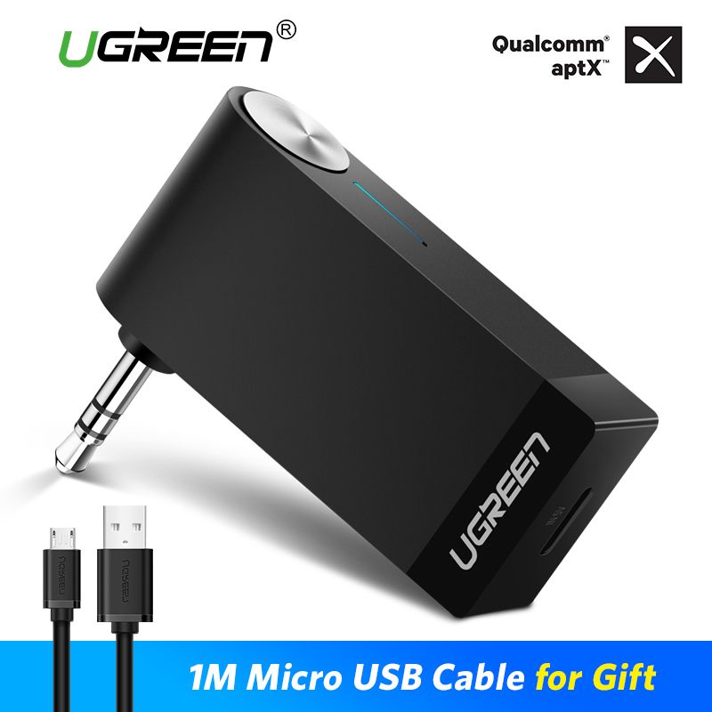 Ugreen Bluetooth Receiver 4.2 Wireless Bluetooth Audio Receiver 3.5mm Car Aux Bluetooth Adapter for Speaker <font><b>Headphone</b></font> Hands-free