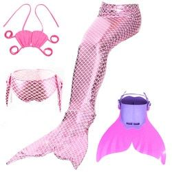 4pcs/set Swimmable Children Mermaid Tail With Monofin Fin Girls Kids Swimsuit Little Mermaid Tail Costume for Girls Swimming