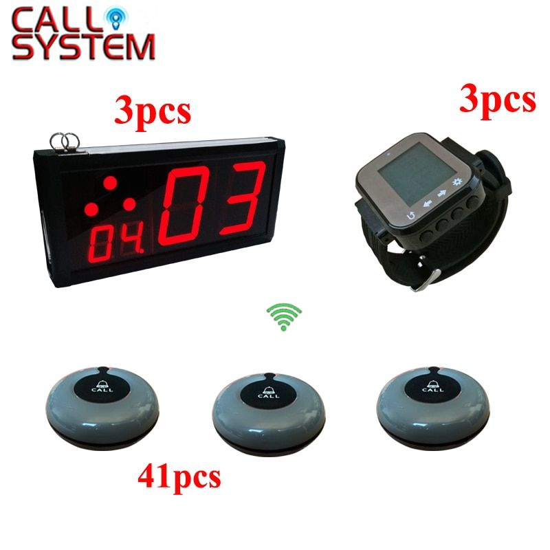 Restaurant Pager Calling Equipment Wrist Clock for Waiter and Call Bell for Customers