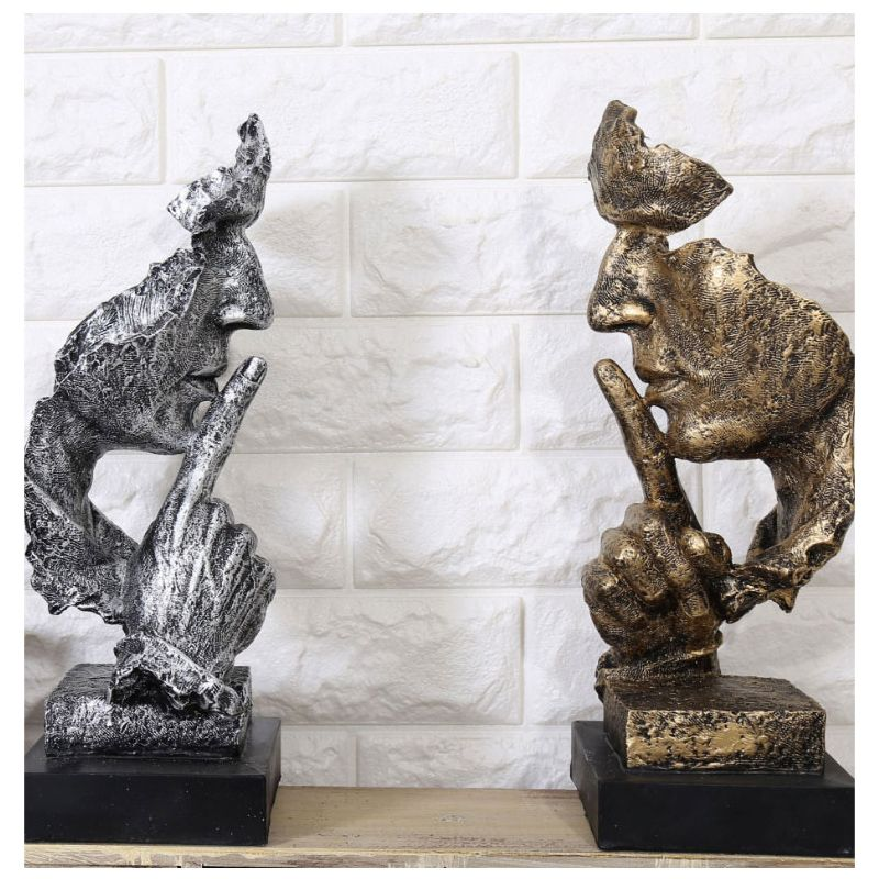 Creative Thinker Statues Retro Abstract Characters Figurine Do Not Listen/Speak/Look Miniature Sculpture Home Desktop Craft Gift