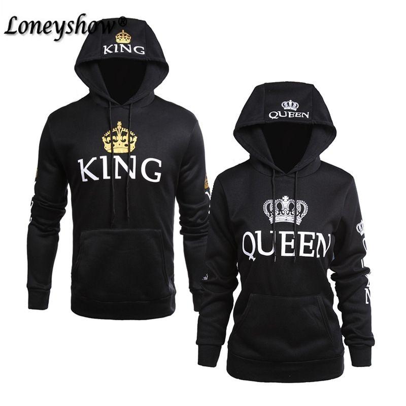 2018 SPring King Queen Printed Hoodies Women Men Sweatshirt Lovers <font><b>Couples</b></font> Hooded Hoodies Sweatshirt Casual Pullovers
