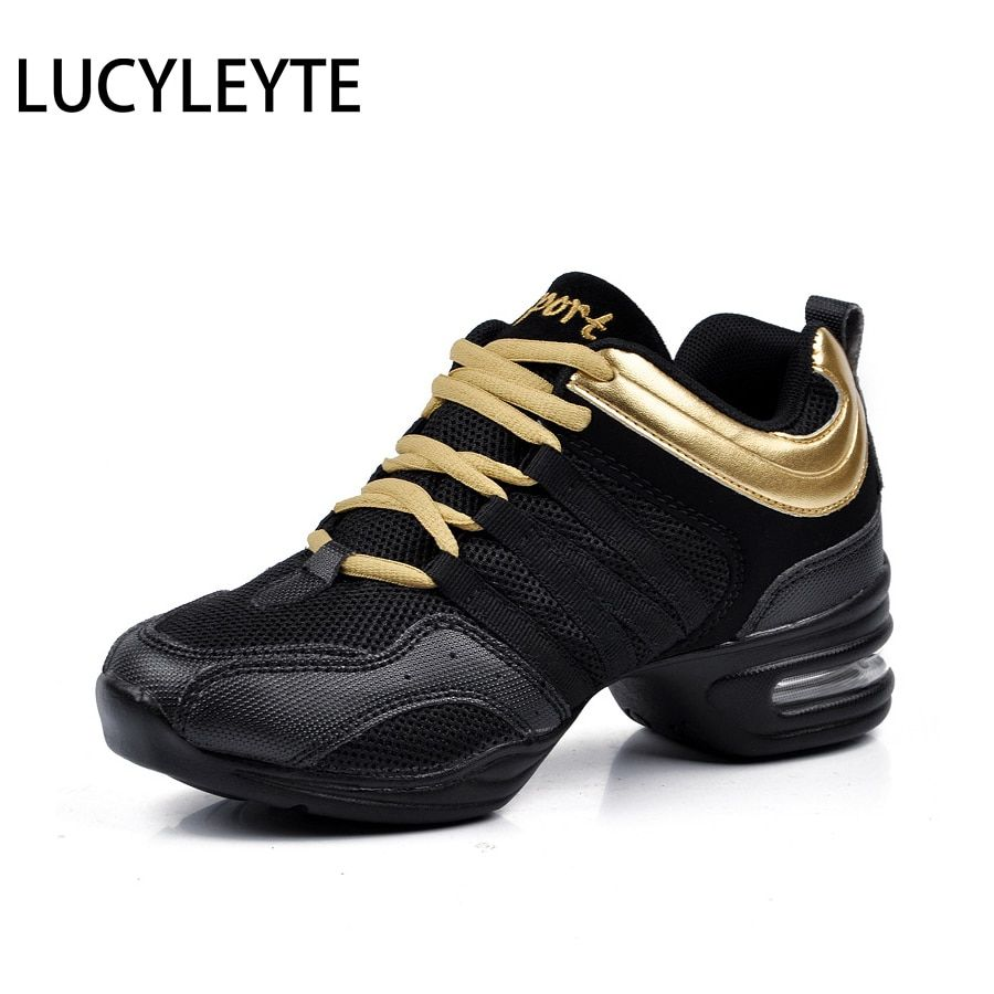Hot Sports <font><b>Feature</b></font> Soft Outsole Breath Dance Shoes LUCYLEYTE Sneakers For Woman Practice Shoes Modern Dance Jazz Shoes Sneakers