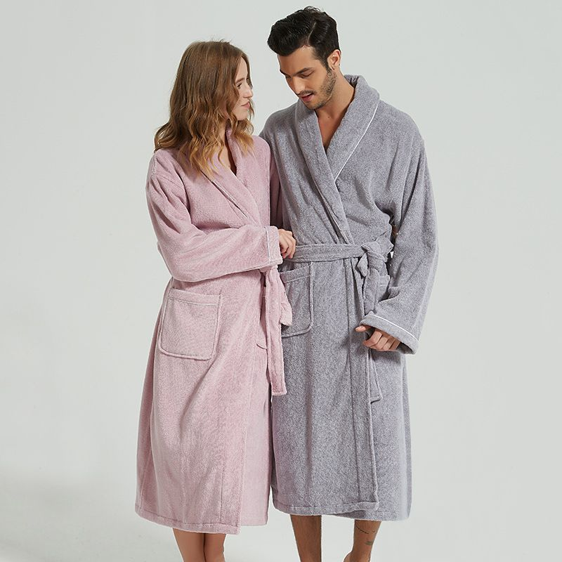 BathRobe Women Winter Warm Towel Fleece Men's Bathrobe Nightgown Kimono Cotton Dressing Gown Sleepwear Female Home Clothes White