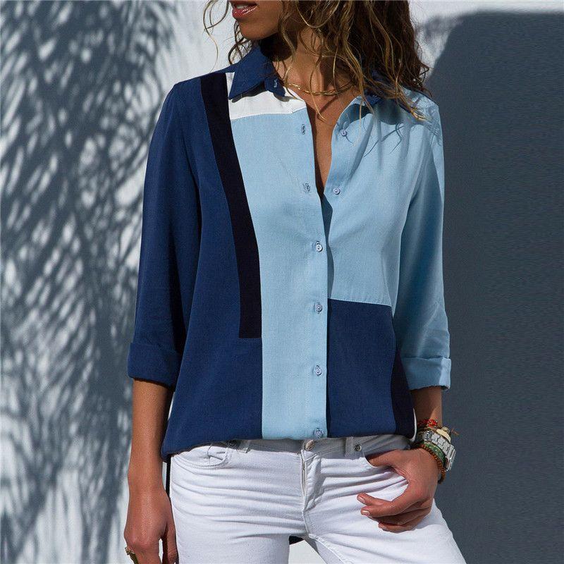 Femmes Blouses 2019 mode à manches longues col rabattu chemise de bureau en mousseline de soie Blouse chemise décontracté hauts grande taille Blusas Femininas
