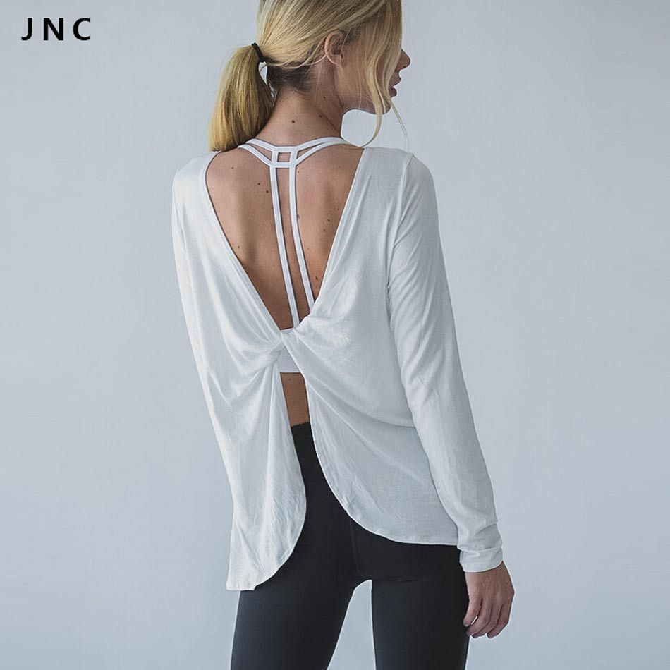 JN Collection 2016 Women Sports T Shirt Yoga Workout Fitness Exercise Running Shirts Sportswear Tee Tank Tops <font><b>Reverse</b></font> Drape Top