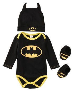 2017 D'été Mignon Batman Nouveau-Né Bébé Garçons Infantile Barboteuses + Chaussures + Chapeau 3 Pcs Outfit Bébé Garçons Vêtements Ensemble