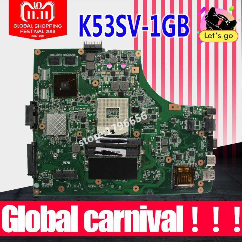 1GB K53SV Motherboard REV 3.1/3.0 For ASUS K53S A53S K53SV K53SJ P53SJ X53S laptop Motherboard K53SV Mainboard test 100% ok