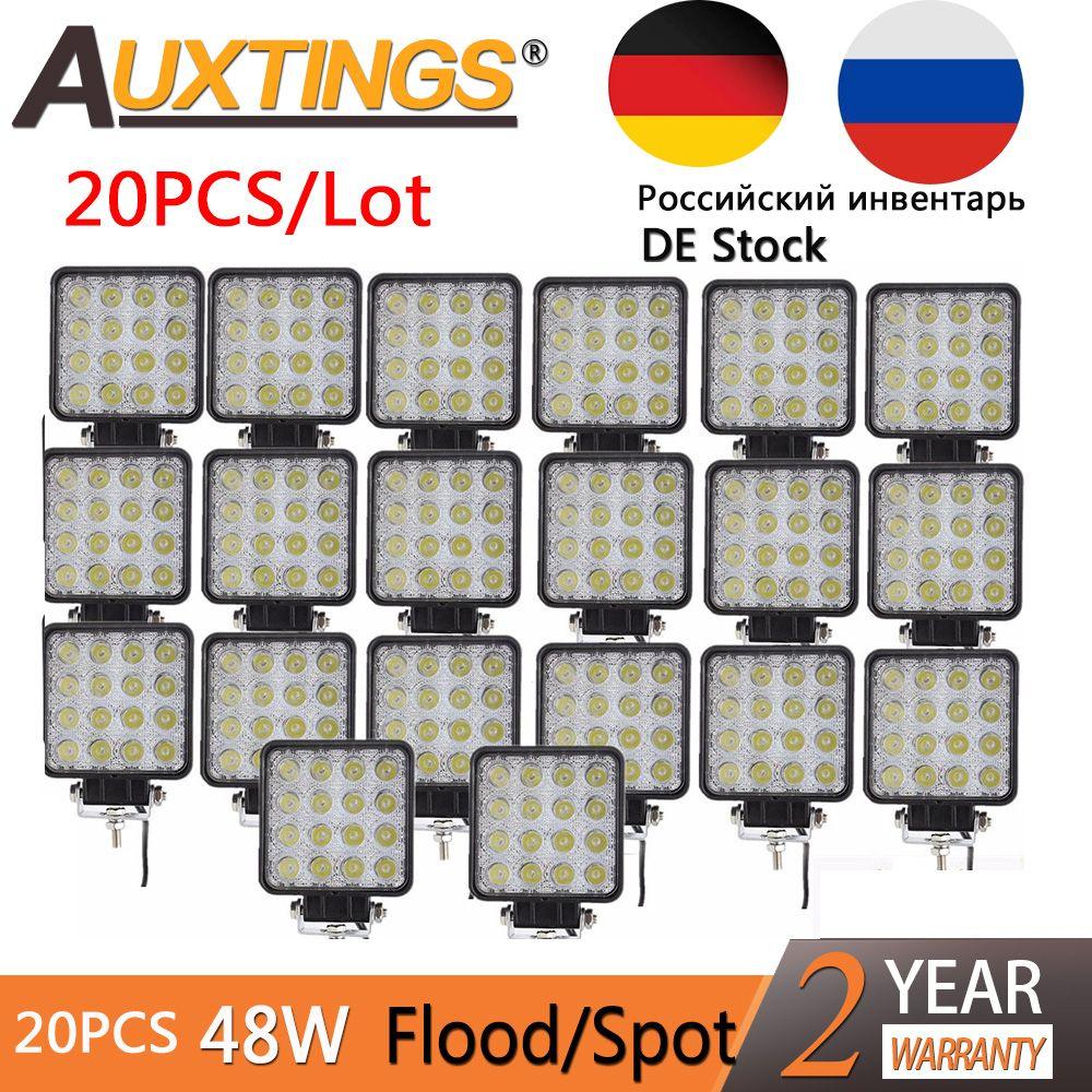 Auxtings 20 teile/los wasserdichte 48w Flut/Spot led Work Licht bar wasserdicht CE RoHS offroad lkw auto LED arbeit licht 12v 24v