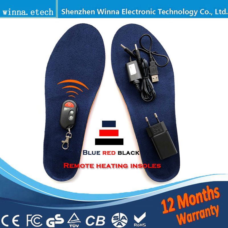 New Gift to lover usb heating insoles women Type Battery Powered for women men shoes winter ski Insoles Size EUR 35-46 # 1800MAH