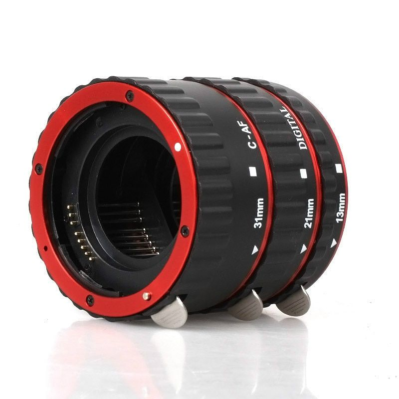macro ring Red Aluminum Alloy Electronic AF TTL Auto Focus Macro Extension Ring Tube For Canon 1000d 6d 7d 5dII 60d DSLR Camera