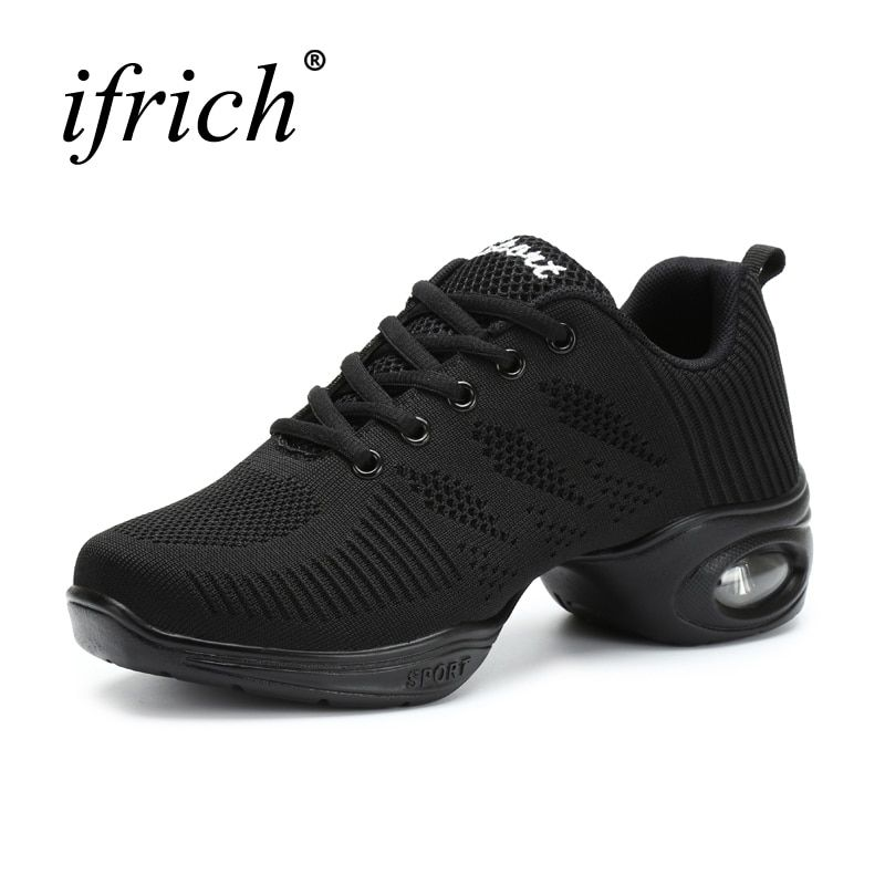 2017 New Arrival Modern Dance Shoe Rubber Mid Heel Dancing Sneakers for Women Air Cushion Lady Sneaker White/Black Jazzing Boots